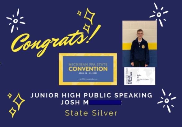 Silver Medalist in FFA State Jr. High Public Speaking Competition