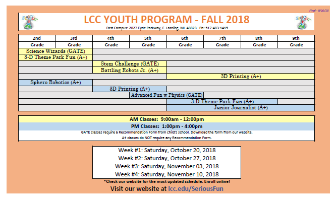 LLC Youth Programs Fall 2018