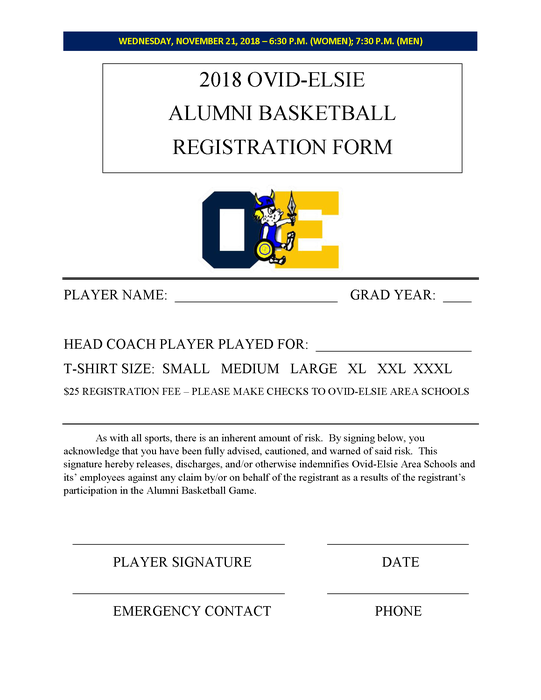 Alumni Basketball Game Registration