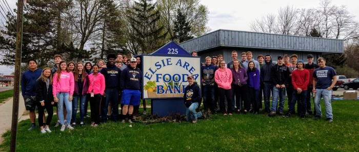 Thank you to Mrs. Ott and her class of volunteers for painting the Elsie Area Food Bank building!