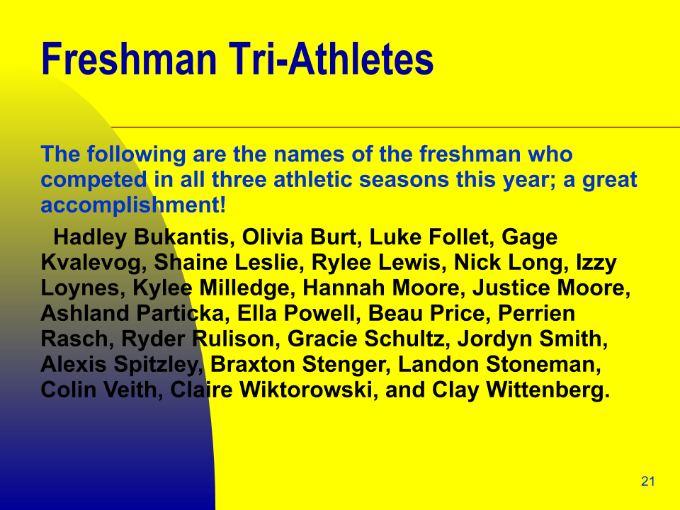 Freshman Tri-Athlete Recipients